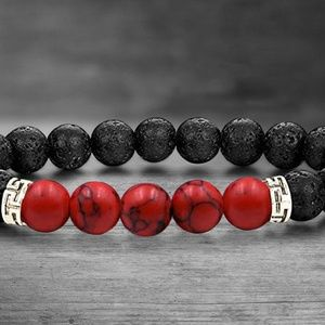 Jewelry - Lava and Red Turquoise Stone Bracelet